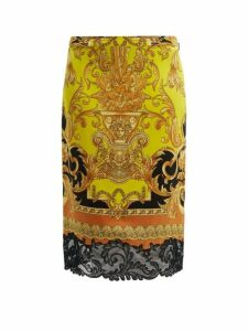 Versace - Lace-trimmed Baroque-print Silk Pencil Skirt - Womens - Black Yellow