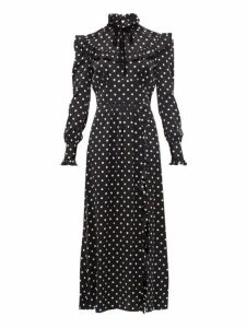 Alessandra Rich - Ruffled Polka Dot Silk Charmeuse Dress - Womens - Black White