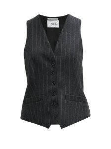 Pallas X Claire Thomson-jonville - Chalk-striped Wool Waistcoat - Womens - Grey Multi