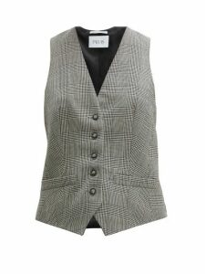 Pallas X Claire Thomson-jonville - Prince Of Wales Check Wool Waistcoat - Womens - Grey Multi