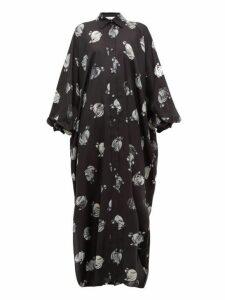 Lanvin - Logo Print Silk Dress - Womens - Black White