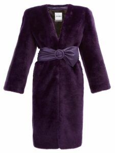The Attico - Exaggerated Shoulder Faux Fur Coat - Womens - Purple