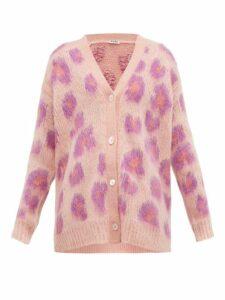 Miu Miu - Leopard Intarsia Mohair Blend Cardigan - Womens - Pink Multi