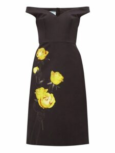 Prada - Off The Shoulder Floral Print Cotton Dress - Womens - Black Print