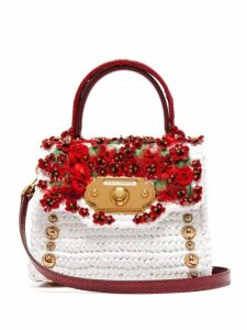 Dolce & Gabbana - Welcome Floral Appliqué, Leather & Raffia Bag - Womens - White Multi