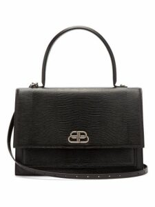 Balenciaga - Sharp L Lizard Effect Leather Bag - Womens - Black