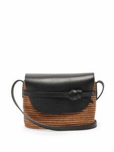 Cesta Collective - Leather Panel Wicker Cross Body Bag - Womens - Tan Multi