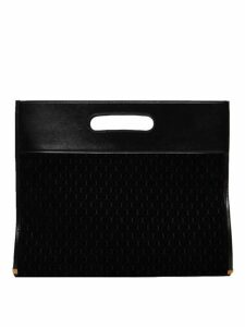 Saint Laurent - Monogram Contrast Panel Suede Tote Bag - Womens - Black