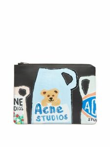 Acne Studios - Malachite L Vase Print Leather Pouch - Womens - Black Multi