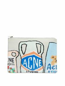 Acne Studios - Malachite L Vase Print Leather Pouch - Womens - Light Blue