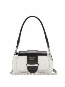 Prada - Sidonie Two Tone Leather Shoulder Bag - Womens - White Black