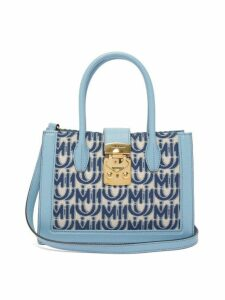 Miu Miu - Madras Small Logo Jacquard Leather Trim Bag - Womens - Blue White