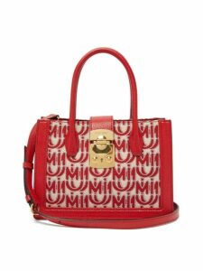 Miu Miu - Madras Small Logo Jacquard Leather Trim Bag - Womens - Red White