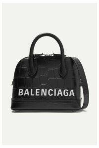 Balenciaga - Ville Xxs Aj Printed Croc-effect Leather Tote - Black