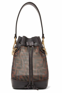Fendi - Mon Trésor Mini Printed Mesh And Leather Bucket Bag - Brown
