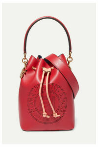 Fendi - Mon Trésor Perforated Leather Bucket Bag - Red