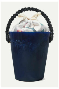 Montunas - Lirlo Rope-trimmed Marbled Acetate And Satin Tote - Navy