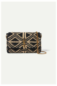SAINT LAURENT - Kate Medium Raffia Shoulder Bag - Black