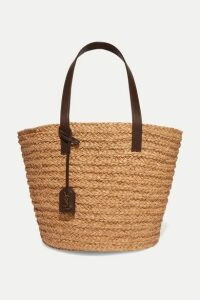 SAINT LAURENT - Panier Medium Leather-trimmed Raffia Tote - Brown