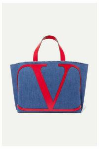 Valentino - Valentino Garavani Vlogo Escape Large Leather-trimmed Denim Tote - Navy