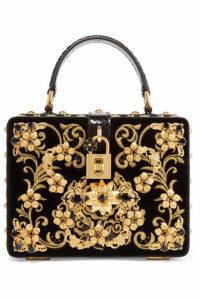 Dolce & Gabbana - Dolce Box Embellished Embroidered Ayers-trimmed Velvet Shoulder Bag - Black