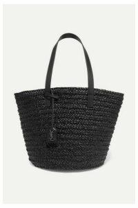 SAINT LAURENT - Panier Medium Leather-trimmed Raffia Tote - Black