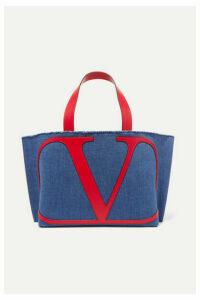 Valentino - Valentino Garavani Vlogo Escape Small Leather-trimmed Denim Tote - Navy