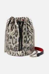 Christian Louboutin - Marie Jane Leather-trimmed Crystal-embellished Metallic Tweed Bucket Bag - Silver