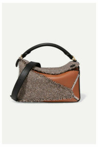 Loewe - Puzzle Medium Leather And Tweed Shoulder Bag - Brown