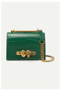 Alexander McQueen - Jewelled Satchel Small Embellished Croc-effect Leather Shoulder Bag - Green