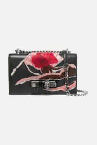 Alexander McQueen - Jewelled Satchel Embellished Embroidered Suede Shoulder Bag - Black