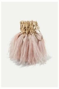Rosantica - Aramis Embellished Feather-trimmed Velvet Shoulder Bag - Pink