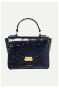 Wandler - Luna Mini Glossed Croc-effect Leather Shoulder Bag - Midnight blue