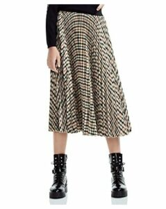 Maje Johnny Pleated Plaid Midi Skirt