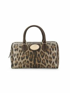 Leopard-Print Leather Top Handle Bag
