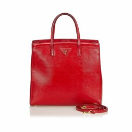 Prada Red Saffiano Vernice Leather Satchel