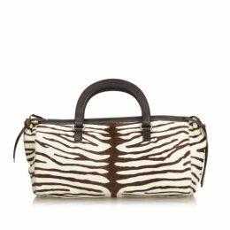 Prada White Zebra Print Pony Hair Handbag