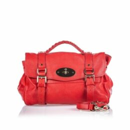 Mulberry Red Pebbled Leather Alexa Satchel