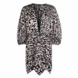 Alexandre Vauthier Low Cut Leopard Print Dress