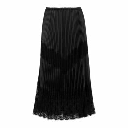 Valentino Black Pleated Leather And Lace Skirt