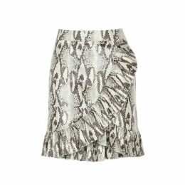 MSGM Coated Python-print Skirt
