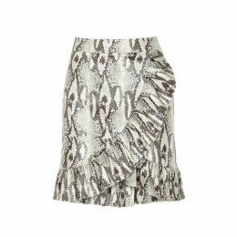 MSGM Coated Python-print Skirt