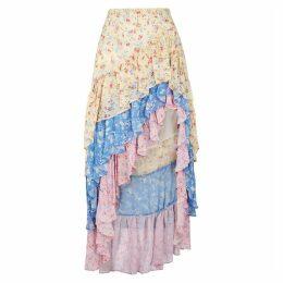 LoveShackFancy Lisette Floral-print Ruffled Silk Skirt