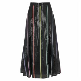 Olivia Rubin Astrid Striped Sequin Midi Skirt
