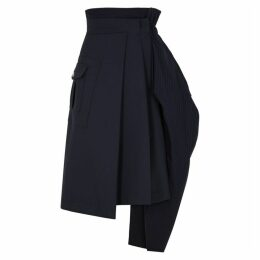 HIGH Navy Layered Stretch-cady Skirt