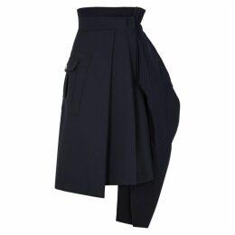 HIGH Navy Layered Stretch-cady Skirt