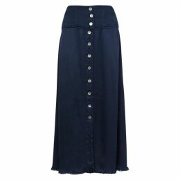 RAQUEL ALLEGRA Navy Satin Midi Skirt