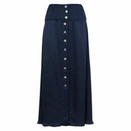 RAQUEL ALLEGRA Navy Satin Midi Skirt
