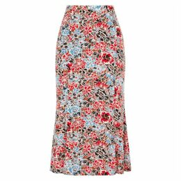 Veronica Beard Diane Floral-print Stretch-silk Midi Skirt