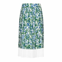 Victoria, Victoria Beckham Printed Plissé Midi Skirt